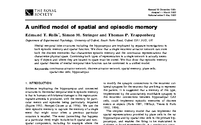 Memory paper unified_model_of_spatial_and_episodic_memory